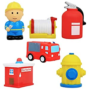 Click N' Play 6 Piece Fire Station Action Figure Play Set Soft Vinyl Bath Toy.