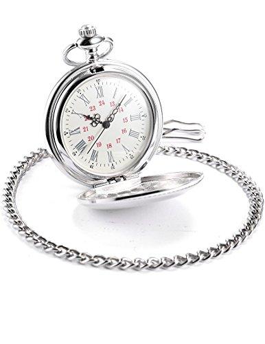 AMPM24 Vintage Silver Men's Women Ladies Quartz Pendent Pocket Watch Clock Chain Gift WPK027 by AMPM24 (Image #2)