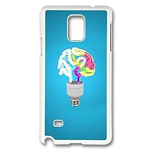 VUTTOO Rugged Samsung Galaxy Note 4 Case, Colorful Human Brain Light Bulb Shape Illustration Hard Plastic Case for Samsung Galaxy Note 4 N9100 PC White