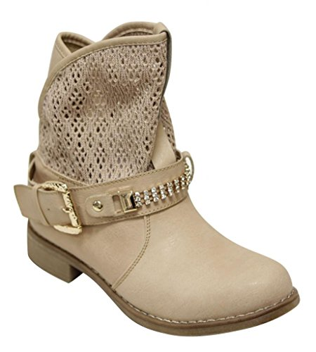 Anna Clayton-5 ankle boots hollow knit slouchy ankle bead buckled strap decor PU boots Khaki (Buckled Slouchy Boots)