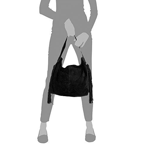 cuir in en Shopping Firenze Pelle à franges genuino Sac peau Italy italienne 42 femmes artegiani Sac nbsp;x Made Chamois cuir Bag de en nbsp;x main à Couleur Noir épaule taupe Sac Vera véritable nbsp;cm 34 12 Bw0wxY