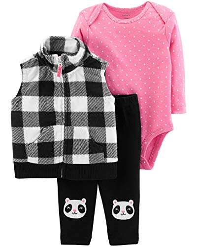 Black Vest Set - Carter's Baby Girls 3 Piece Vest Set, Black Plaid/Panda, 24 Months