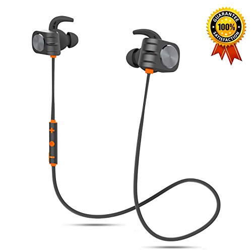 Bluetooth Headphones, Aolpxom Magnetic Wireless Earbuds w/Mic, 160mAh High Capacity Battery, 10 Hours Playtime, HD Stereo, IPX5 Waterproof Wireless Sport Earphones for Men Women (Orange) by Aolpxom