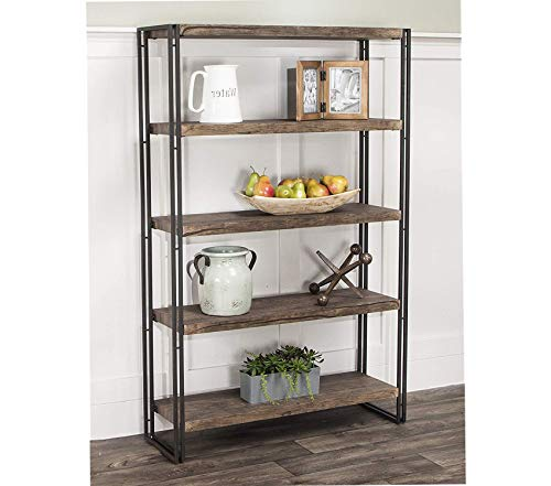 Wood & Style Dawson Bookcase Brown Gray/Black Decor Comfy Living Furniture Deluxe Premium Collection