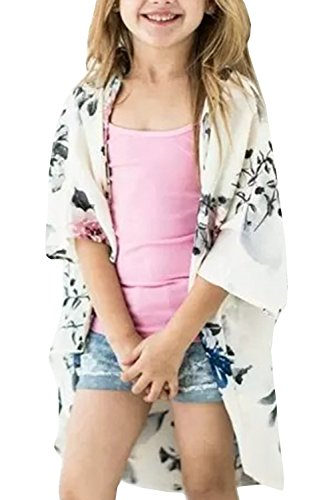 KunLunMen Girls Cardigans Kimono Floral Tops Summer Boho Cute Loose Cover Up Blouses (Long Girls Cardigan)