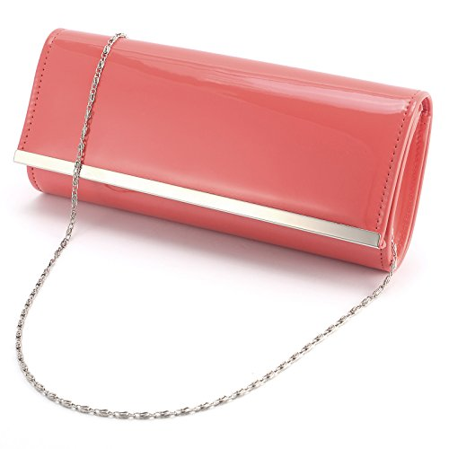 Anladia - Wedding Party Bag Handbags Women Handbag Patent Leather Clutch Type Romantic Long Chain + 120cm For Wedding Dinner Party Outings Nude Color Navy Coral Reef