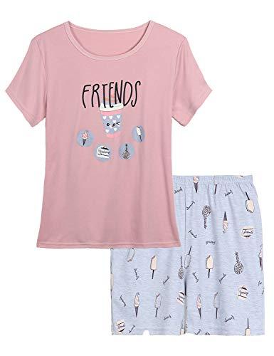 Tween Girls Pajamas Cute Ice Cream Summer Clothes Set Short Sleeve & Shorts Jammies Big Kids Size 16 (Size 16 Girl Clothes)