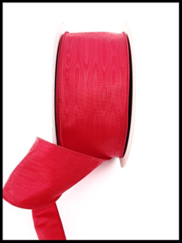 Red Moire Christmas Ribbon with Wire - 3'' X 50 Yds Shiny Red 3IN Width Ribbon w/ Wired-Edge Make Excellent Bows and Gift Wrap Presents and Gifts Holiday Winter Ribbon 50 Yards
