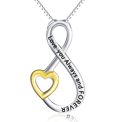 Angel Caller Girlfriend Teen Christmas Birthday Jewelry Gift Real Silver InfinityLove Heart Forever Necklace Always