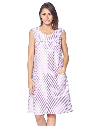 Casual Nights Women's Zipper Front House Dress Duster Sleeveless Housecoat Lounger Robe, Polka Dots Purple, X-Large