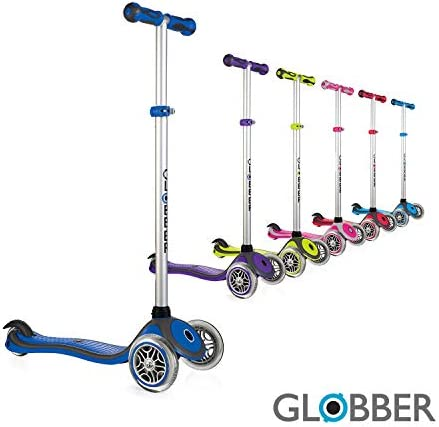 Globber – 3 Wheel Scooter for Kids, Ages 3 , 4 Adjustable Height Kick Scooter w Lights no Assembly Learn to Steer Patented Steering Lock for Girls or Boys Reinforced Body Supports Up to 110lbs