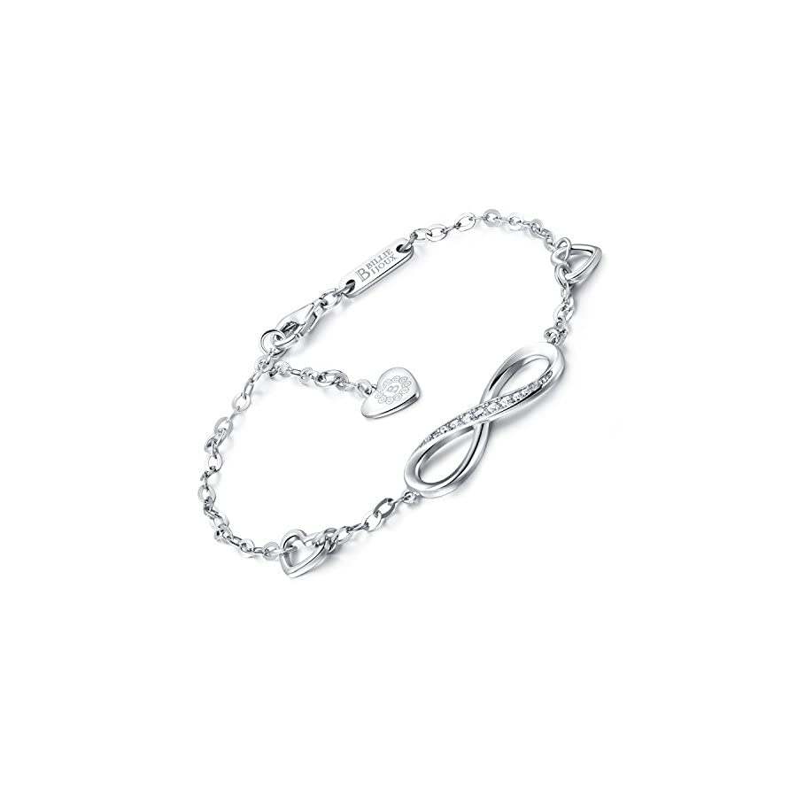 Billie Bijoux Womens 925 Sterling Silver Infinity Endless Love Symbol Charm Adjustable Bracelet Gift for Women Girls (A Silver)