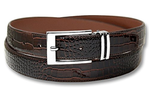 Biagio Croc Emboss DARK BROWN Men's Bonded Leather Belt Silver-Tone Buckle sz 36
