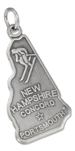 Sterling Silver Antiqued New Hampshire State Charm