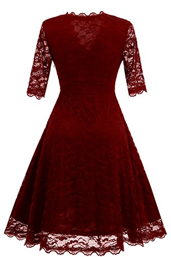 con Toskana de boda encaje largo o fiesta para Vestido noche Borgoña Braut qq4ArRwz