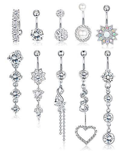 Udalyn 10 PCS Belly Button Rings For Women Girls Navel Rings Surgical Steel 14G Body Jewelry for Women Piercings Belly