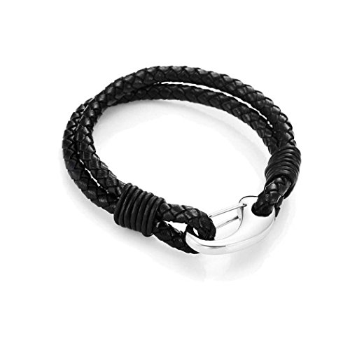 Real Spark(TM) Unisex Handmade Black Genuine Braided Leather 2 Wrap Men Rope Bracelets With Locking Stainless Steel Clasp Length 8 Inch