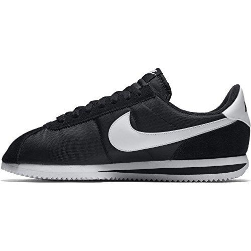 NIKE Men's Cortez Basic Nylon Black/White/Metallic Silver Casual Shoe (Cortez Nylon)