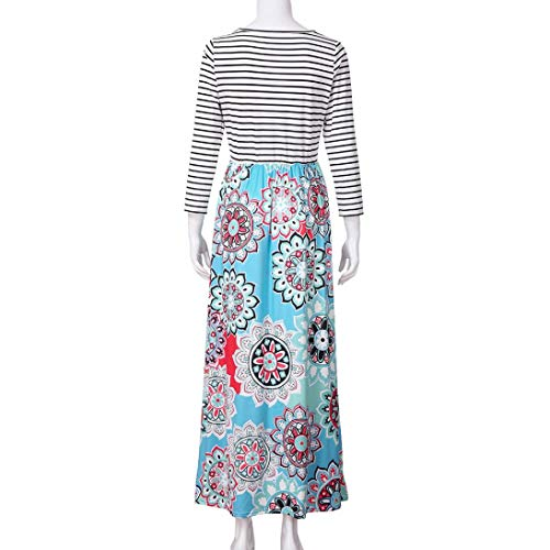 aliveGOT Women's Striped Floral Print Long Sleeve Tie Waist Maxi Dress with Pockets (Light Blue, L) by aliveGOT (Image #6)