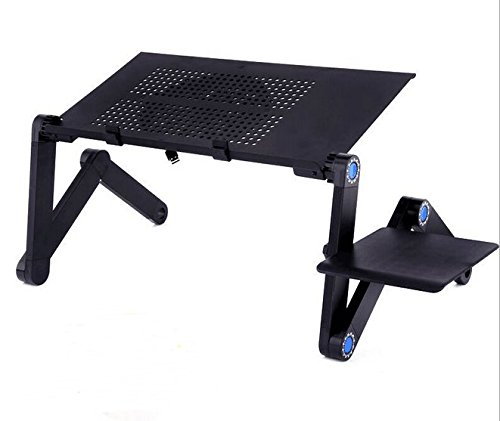 DADDY FROG DESK (BLACK) w/ cooling fan - Affordable standing desk, Folding camping desk, Portable table, Breakfast tray, Adjustable reading stand, Cook book stand, Ergonomic desk, Boost productivity by FROG DESK