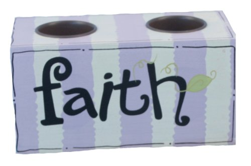 Young's Wood Faith Tea Light Double Candle Holder, 6.25-Inch by Young's