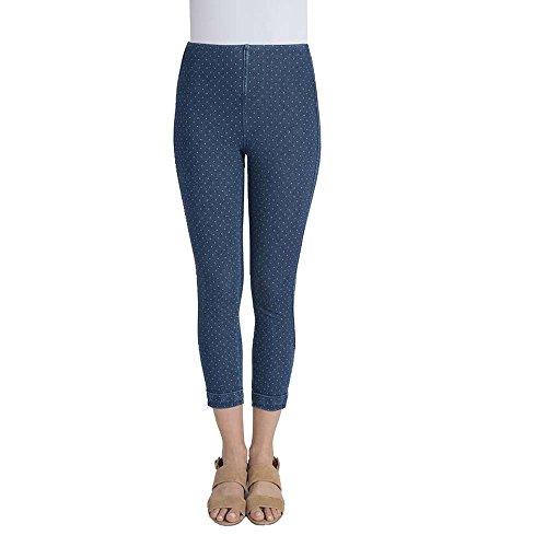 Cuff Leggings (Lyssé Women's Denim Cuffed Crop (Pin Dot Blue,XL))