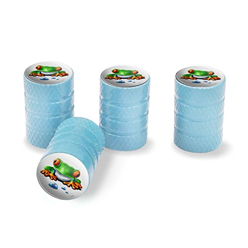 - Graphics and More Rainforest Red Eyed Tree Frog and Ant Tire Rim Wheel Aluminum Valve Stem Caps - Light Blue
