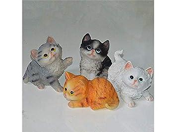 kxrzu Génial 4 piezas miniatura de resina lindo gatos ...