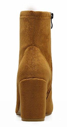 Quadratische Braun Elegant Heels High Damen Reißverschluss Aisun Stiefel Kurzschaft Zehen Blockabsatz Mit Pw4qE