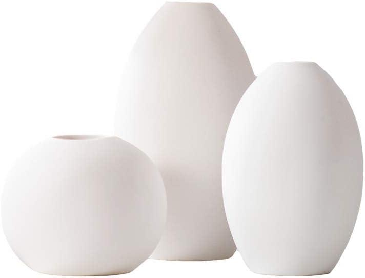 LIKON Small White Ceramic Vase Set for Home Decor -Set of 3 (White)