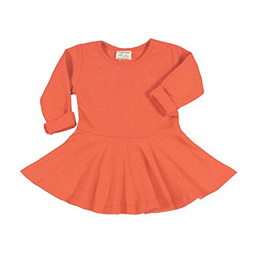 18 Orange Roses ( Infant Toddler Baby Girls Dress Pink Ruffle Long Sleeves Cotton (18-24m(92), Orange))