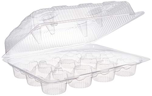 Oasis Supply 12-Compartment Cupcake Container with Hinged Lid, Clear