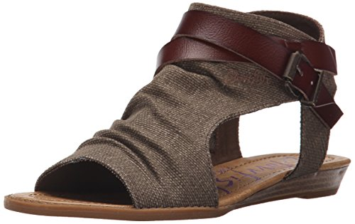 Blowfish Women's Balla Wedge Sandal, Brown Rancher Canvas/Whiskey Dyecut, 9 Medium US