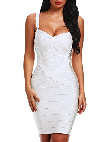 Bqueen Women's Spaghetti Strap Sexy Bodycon Bandage Dress BQ1636-1 (M, White)