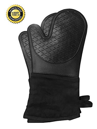 Silicone Heat Resistant Long 1 Pair, Heavy Duty Professional Grade Potholders, 100% Quality Gloves, Non-Slip, Water Resistant, Protects to 482° BBQ, Kitchen (Black)