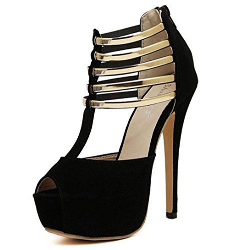 LINYI T-Strap Open Toe Stiletto Heels Waterproof Platform High Heels Womens Summer New Suede Party Black 5a1rA4BslV