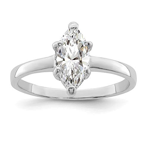 925 Sterling Silver Solitaire Marquise Cubic Zirconia Cz Band Ring Size 6.00 Engagement Fine Jewelry Gifts For Women For -