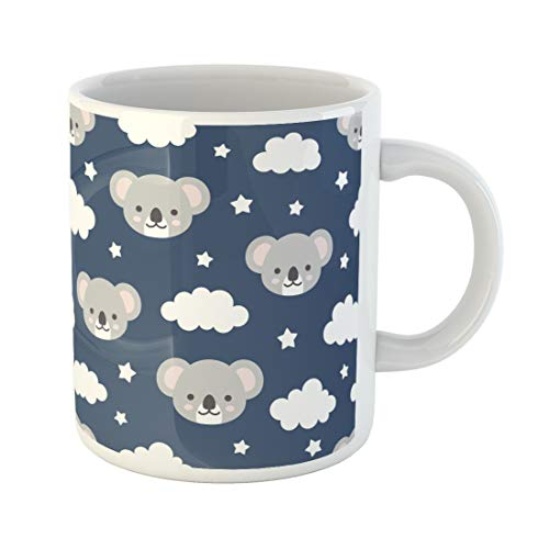 Semtomn Funny Coffee Mug Watercolor Baby Cute Koala Good Night Sweet Dream Animal Clouds 11 Oz Ceramic Coffee Mugs Tea Cup Best Gift Or -
