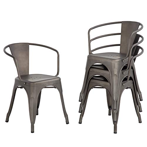 Metal Dining Chairs Set of 4 Patio Chiar Indoor Outdoor Metal Chairs Kitchen Metal Chairs 18 Inch Seat Height Restaurant Chair 330LBS Weight Capacity Tolix Side Metal Stackable Bar Chairs