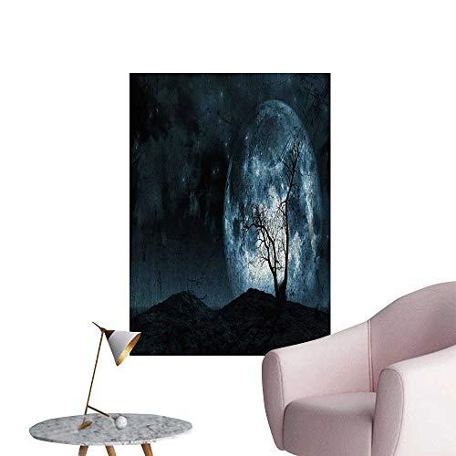 Fantasy Decals for Home Room Decoration Night Moon Sky with Tree Silhouette Gothic Halloween Colors Scary Artsy Background School Dormitory Classroom Slate Blue W20 x H28 -