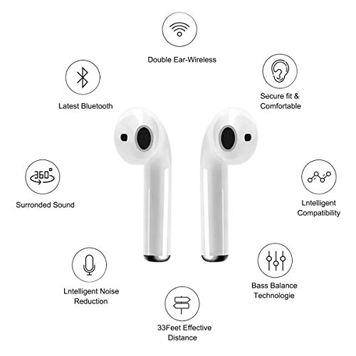 RUYIKA Wireless Headphones, 5.0 Bluetooth In-ear TWS Stereo Earphones Headset TWIN Earbuds, Compatible with iPhone/android/Samsung