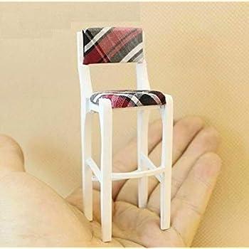 1:12 Dollhouse Miniature Furniture Wooden Bar Stool Elegant Flower Print Chair ^