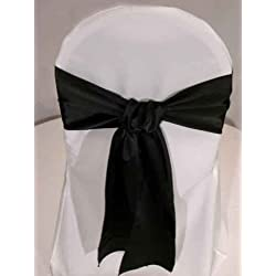 Black Satin Wedding Chair Sash Bows (set of 10) by Summerfield