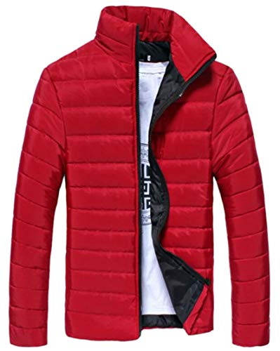 Slim Collar Warm Jacket Overcoat TTYLLMAO Fit Men Stand Red Winter Coat 5qx0Z