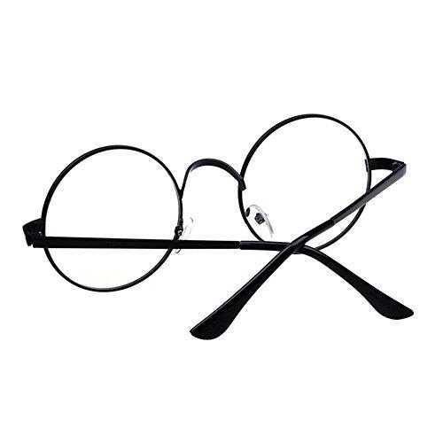 ad0e1e57ace Women Retro Clear Lens Round Glasses Classic Metal Oversized Frame  Eyeglasses Vintage Circle Sunglasses