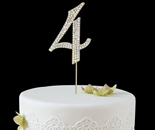 babeyond rhinestone crystal number cake topper picks 1234567890 for birthday wedding anniversary party supplies gold 4