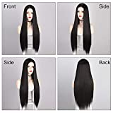AISI QUEENS 30 Inch Long Straight Black Wigs for