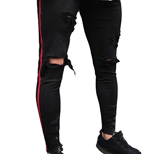 Jeans Destruidos Rasgados Hombres Slim Fit Apenado Agujeros Motocicleta Vintage Denim Pantalones Largos Pantalones Tamaño S-2XL Negro