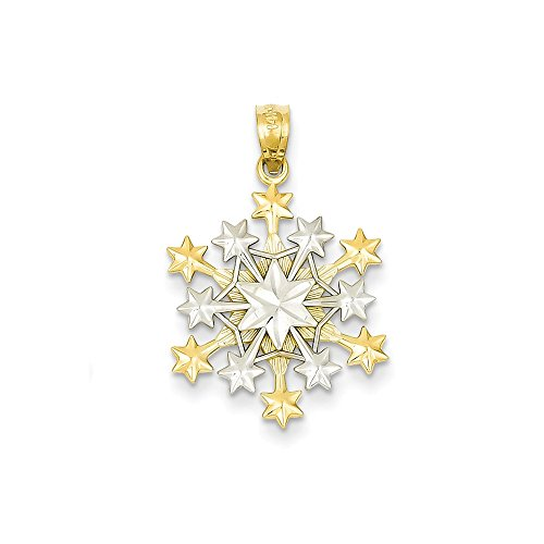 14k Yellow Gold Two-Tone Snowflake Penda - Diamond Cut Snowflake Pendant Shopping Results