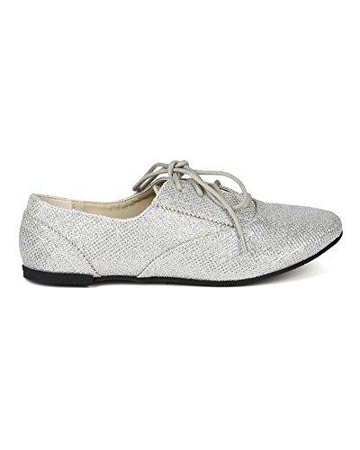 Qupid BB67 Women Glitter Leatherette Oxford Ballerina Flat - Silver (Size: 9.0)